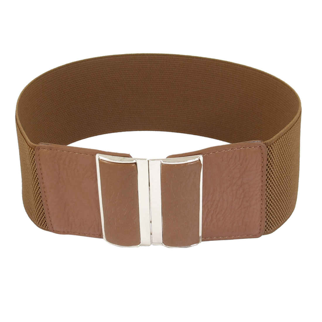 Brown Faux Leather Elastic Band Interlocking Buckle Waist Belt 3 Inches Width for Lady