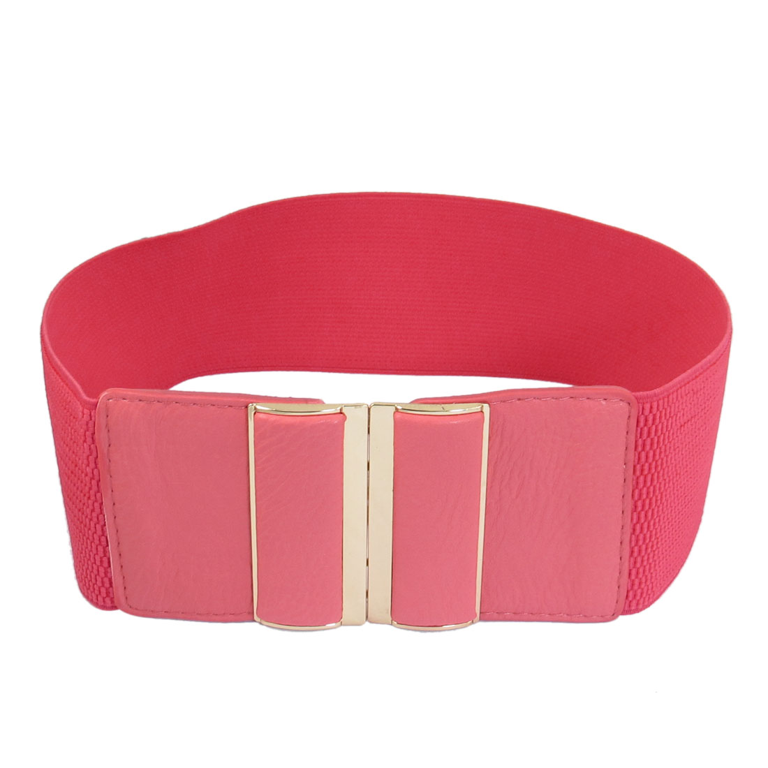 Light Red Faux Leather Elastic Band Interlocking Waist Belt 3 Inches Width for Lady