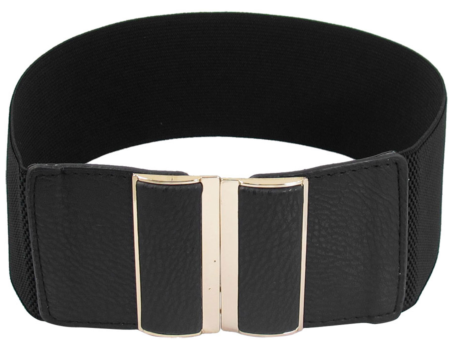 Black Faux Leather Elastic Band Interlocking Buckle Waist Belt 3 Inches Width for Women