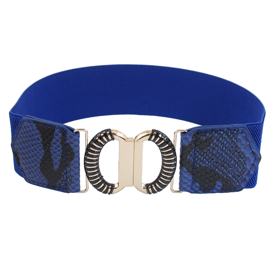 Dark Blue Faux Leather Snake Pattern Elastic Band Interlocking Women Waist Belt