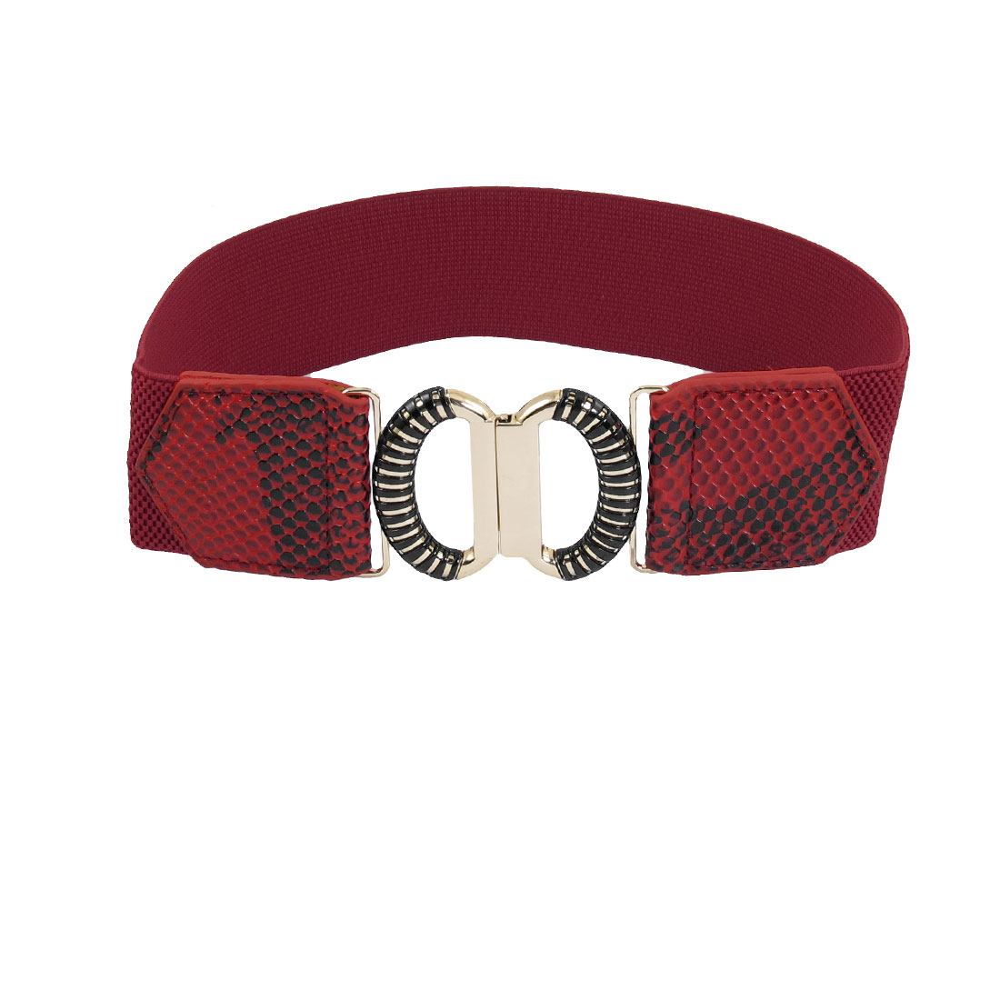 Red Faux Leather Snake Pattern Elastic Band Interlocking Buckle Women Waist Belt
