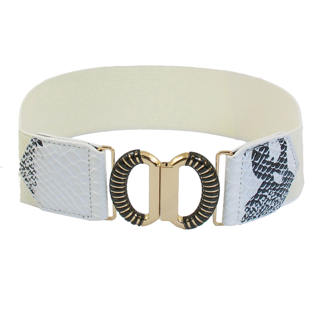 White Faux Leather Snake Pattern Elastic Band Interlocking Women Waist Belt