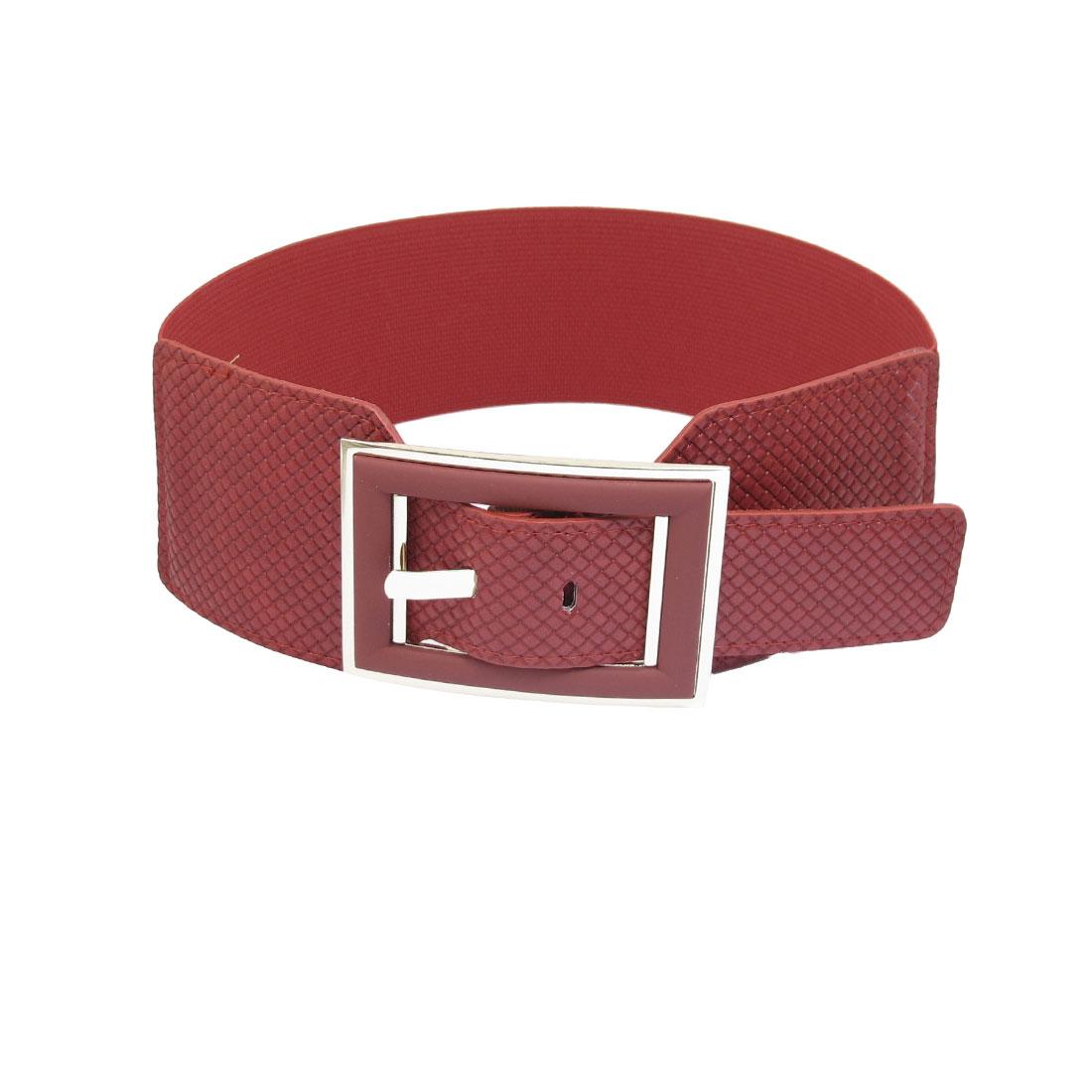 Women Single Prong Buckle Elastic Adjustable Band Waist Belt Red