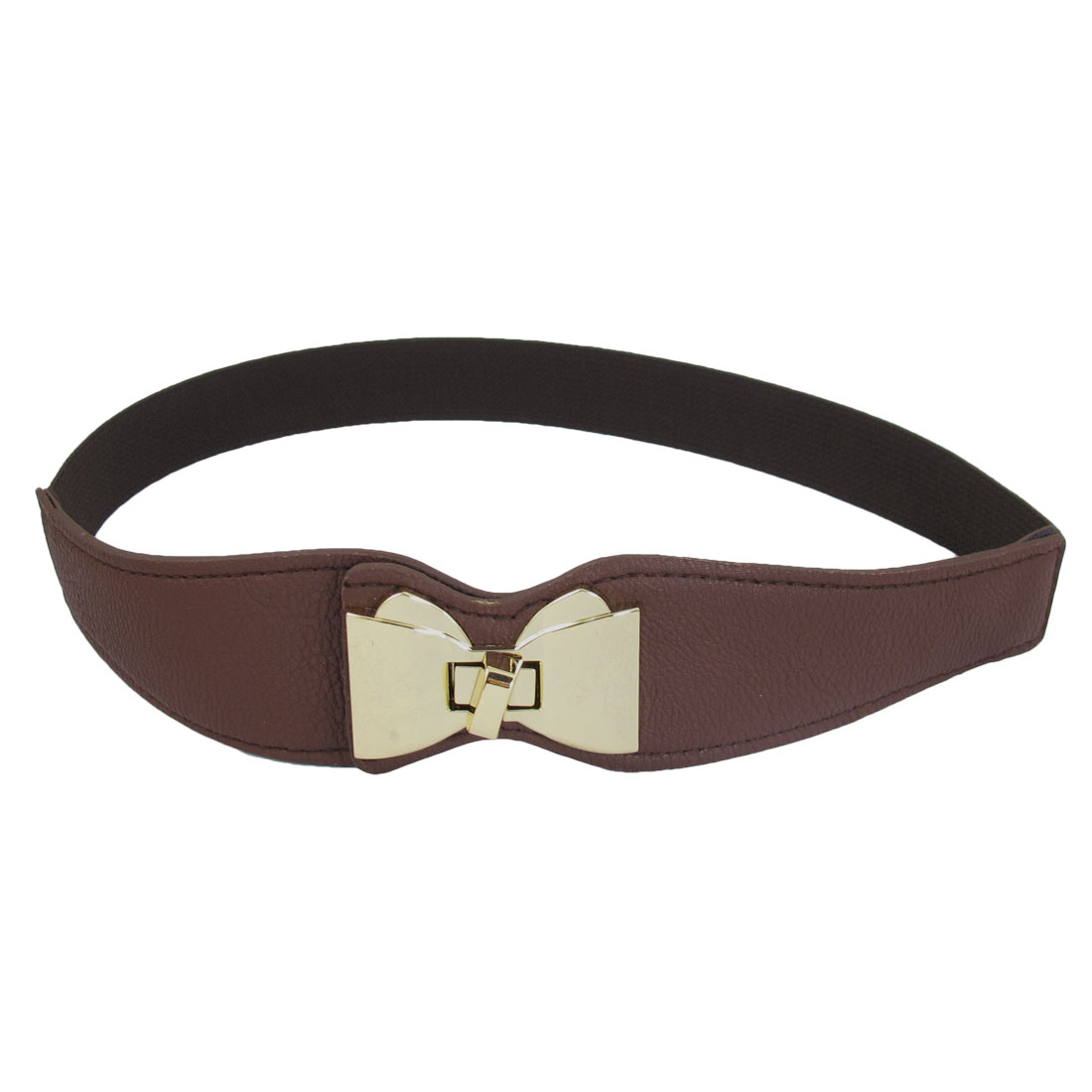 Women Gold Tone Bowknot Shaped Buckle Turn Lock Stretchy Waist Belt Brown