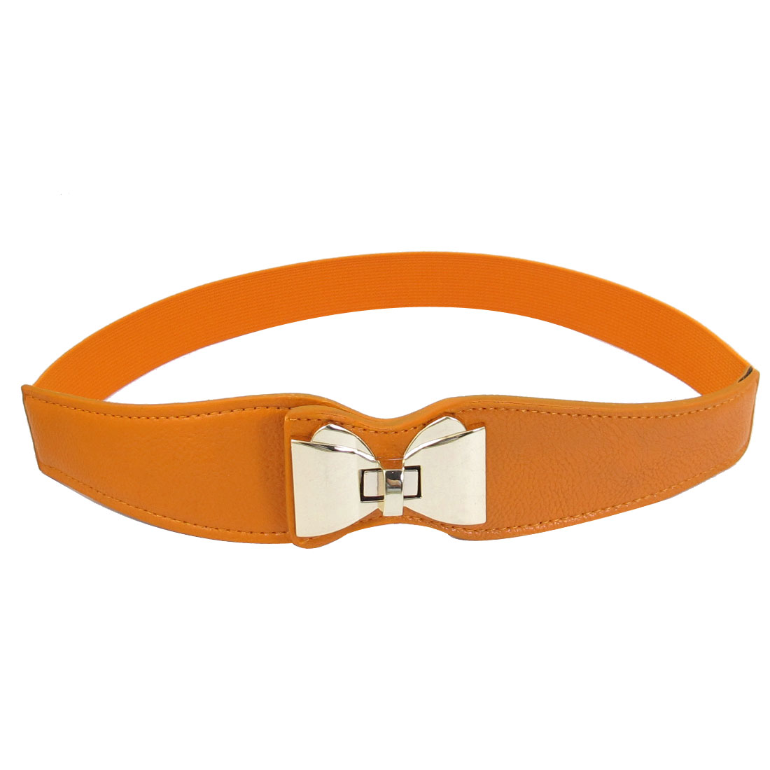 Turn Lock Metal Buckle Bowknot Decor Elastic Orange Waistband Belt for Lady