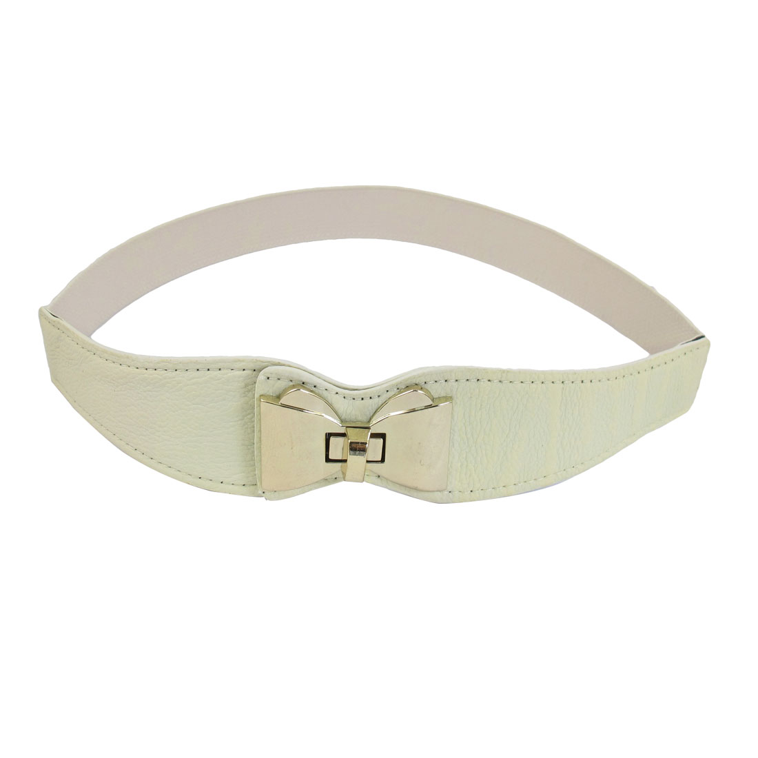 Turn Lock Metal Buckle Bowknot Decor Elastic Beige Waistband Belt for Lady