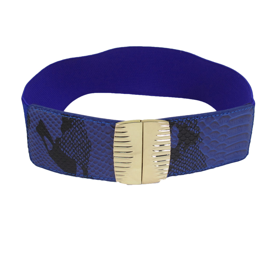 "Dark Blue Faux Leather Snake Pattern Elastic Band 2.6"" Width Interlocking Women Waist Belt"