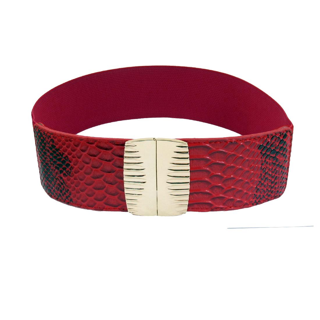 "Red Faux Leather Snake Pattern Elastic Band 2.6"" Width Interlocking Women Waist Belt"
