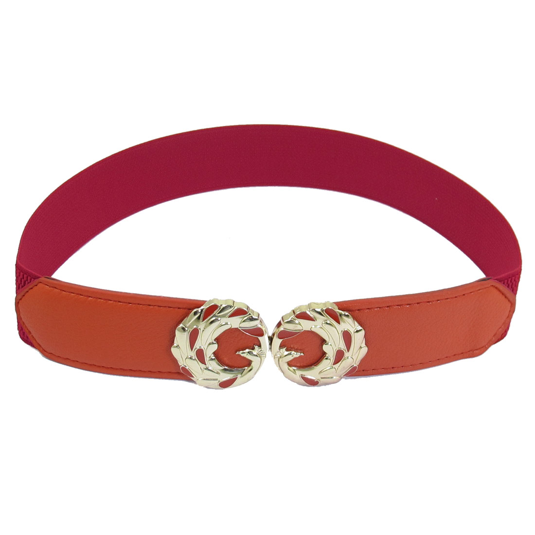 Red Faux Leather Elastic Band Interlocking Peacock Shape Buckle Women Waist Belt