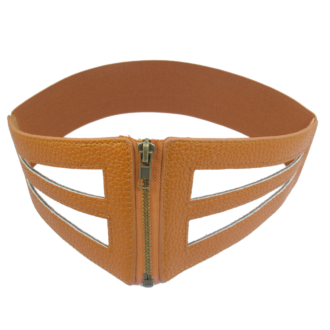 Women Hollow Out Design Zipper Closure Elastic Band Waist Belt Brown
