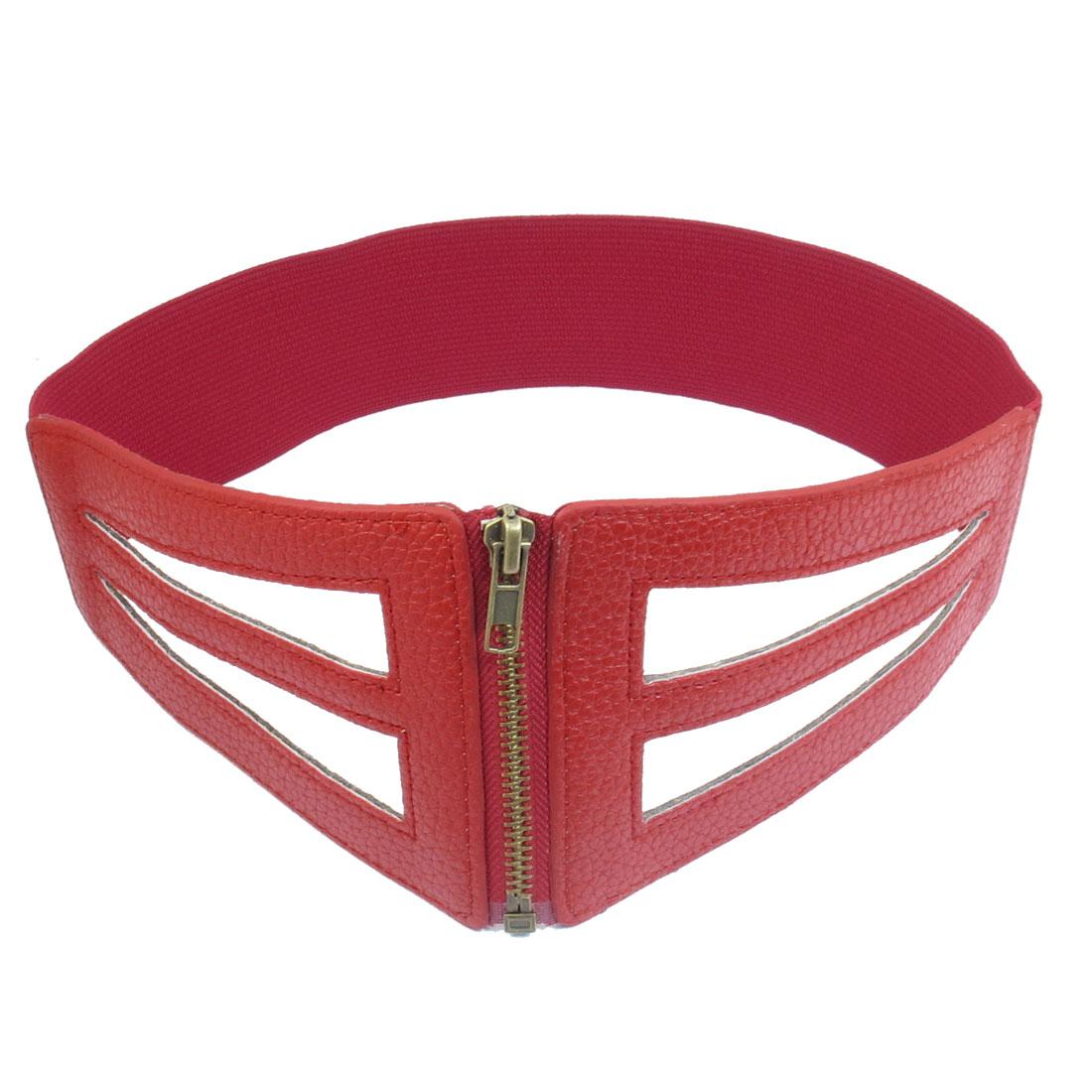 Women Hollow Out Design Zipper Closure Elastic Band Waist Belt Red