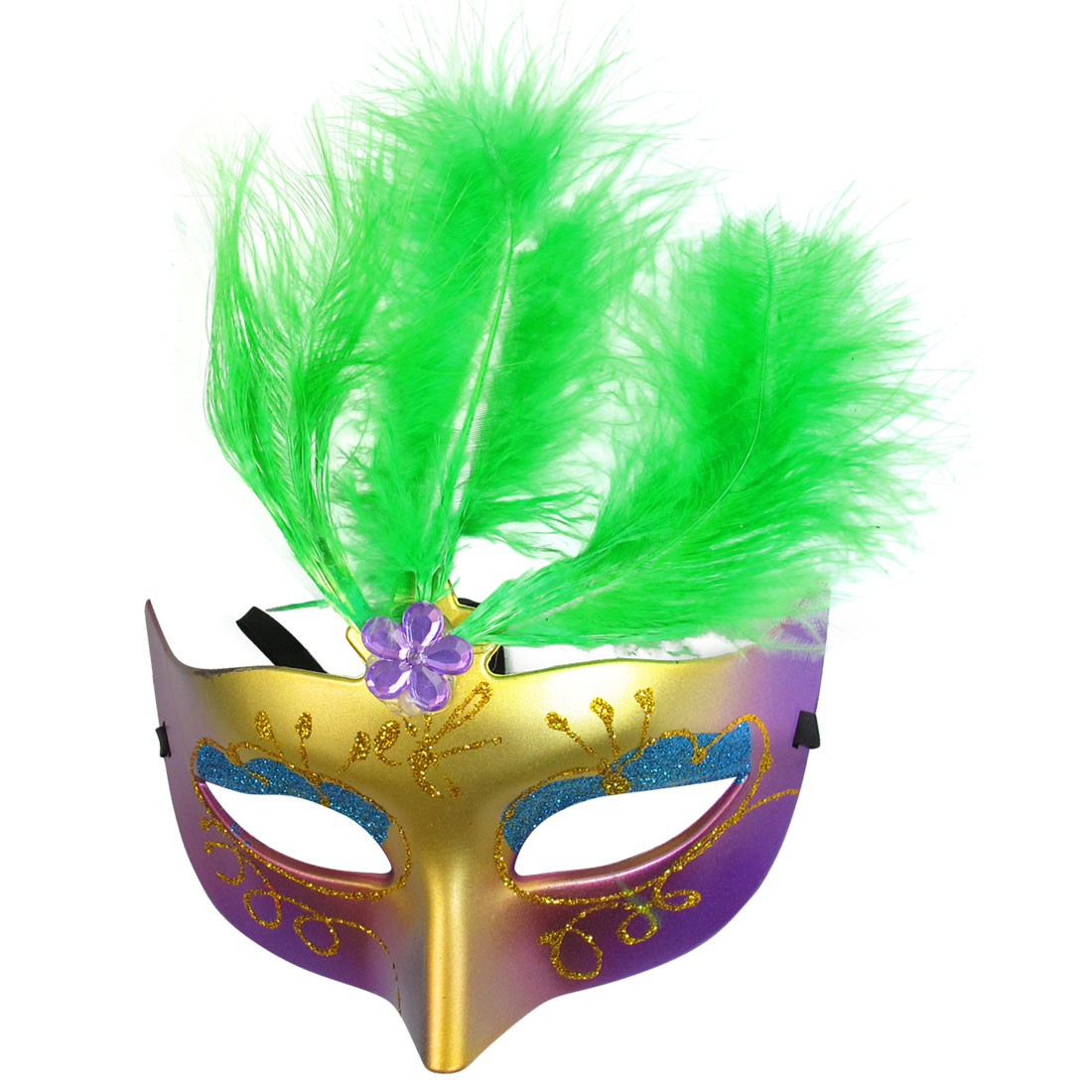 Women Green Powder Feather Decor Plastic Fancy Ball Venetian Mask
