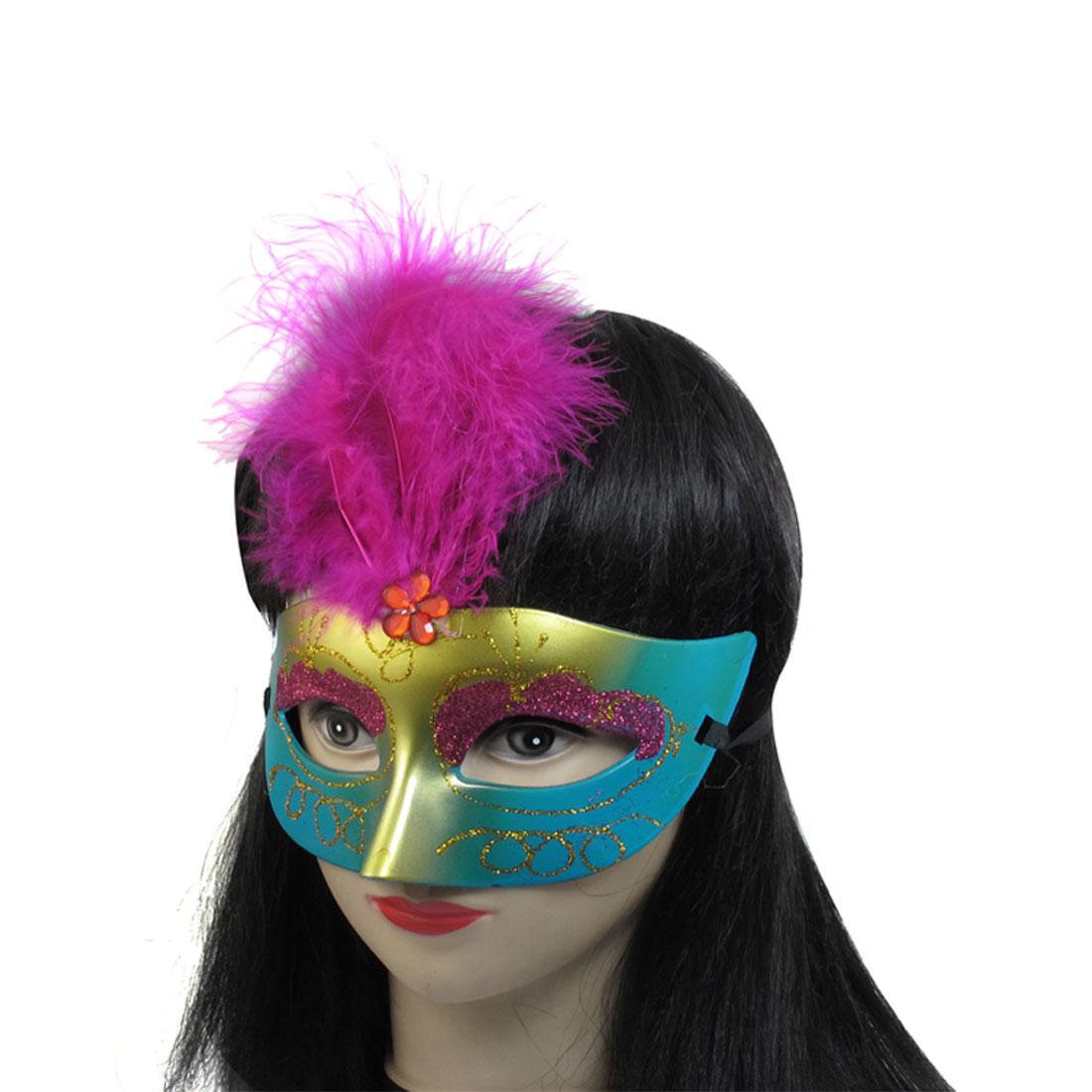 Women Magenta Powder Feather Decor Plastic Fancy Ball Venetian Mask
