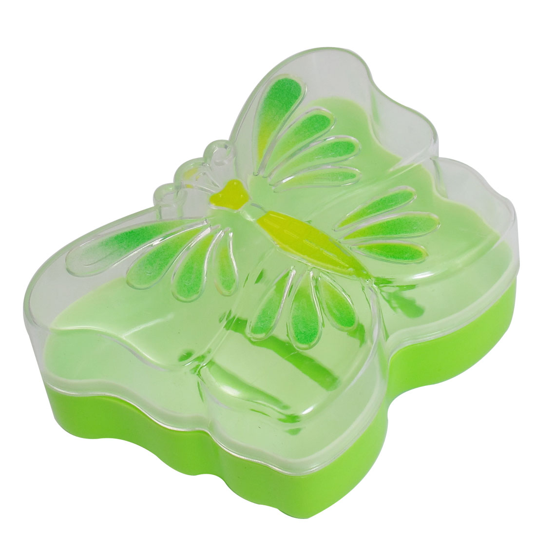 Green Butterfly Shape Plastic Hollow Out Buttom Soap Box Case