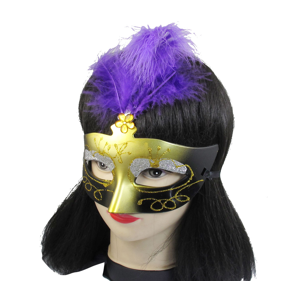 Women Purple Powder Gold Tone Plastic Crystal Decor Fancy Ball Venetian Mask