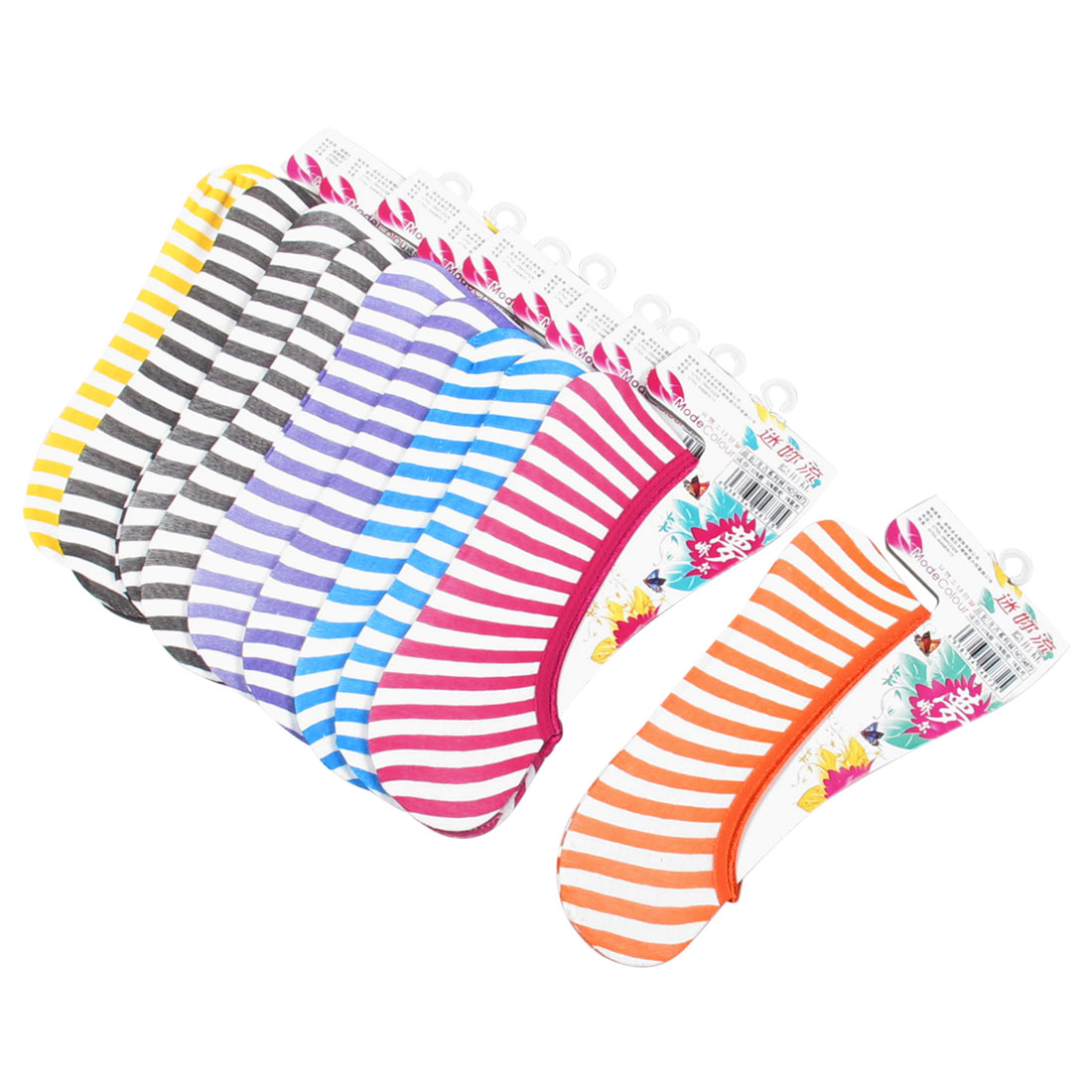 10 Pairs Assorted Color Low Cut Stripes Pattern Stretchy Boat Socks for Lady