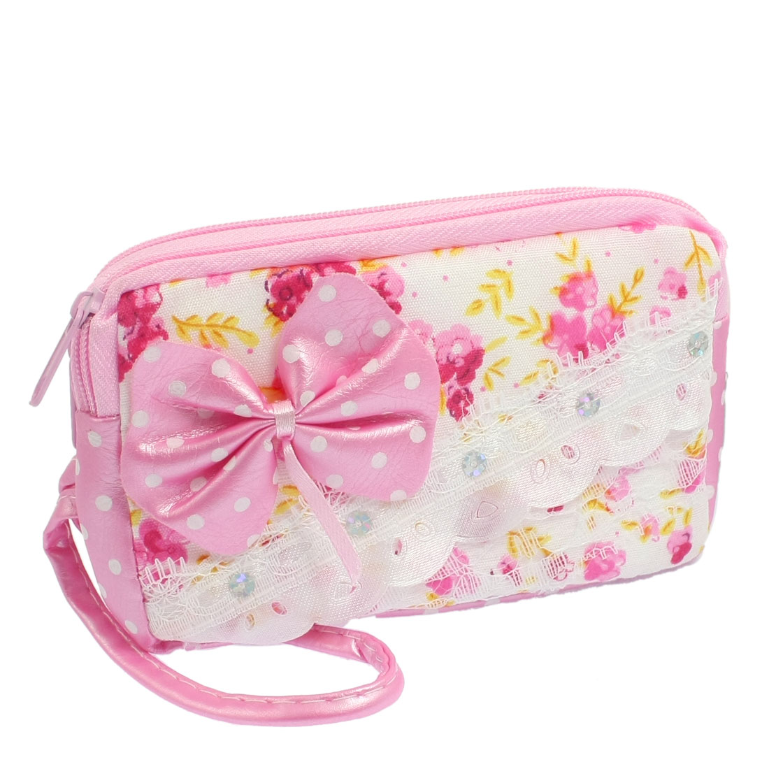 Lady Floral Pattern Paillette Detail Zipper Pink Wallet Purse w Hand Strap