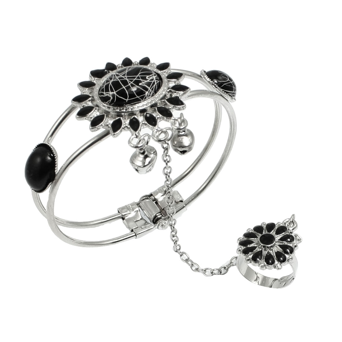 Ladies Black Oval Beads Inlaid Silver Tone Chain Finger Ring Bracelet