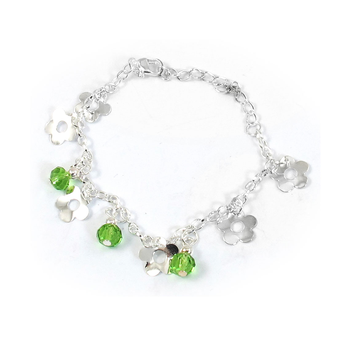 Green Floral Beads Pendant Chain Bracelet for Ladies