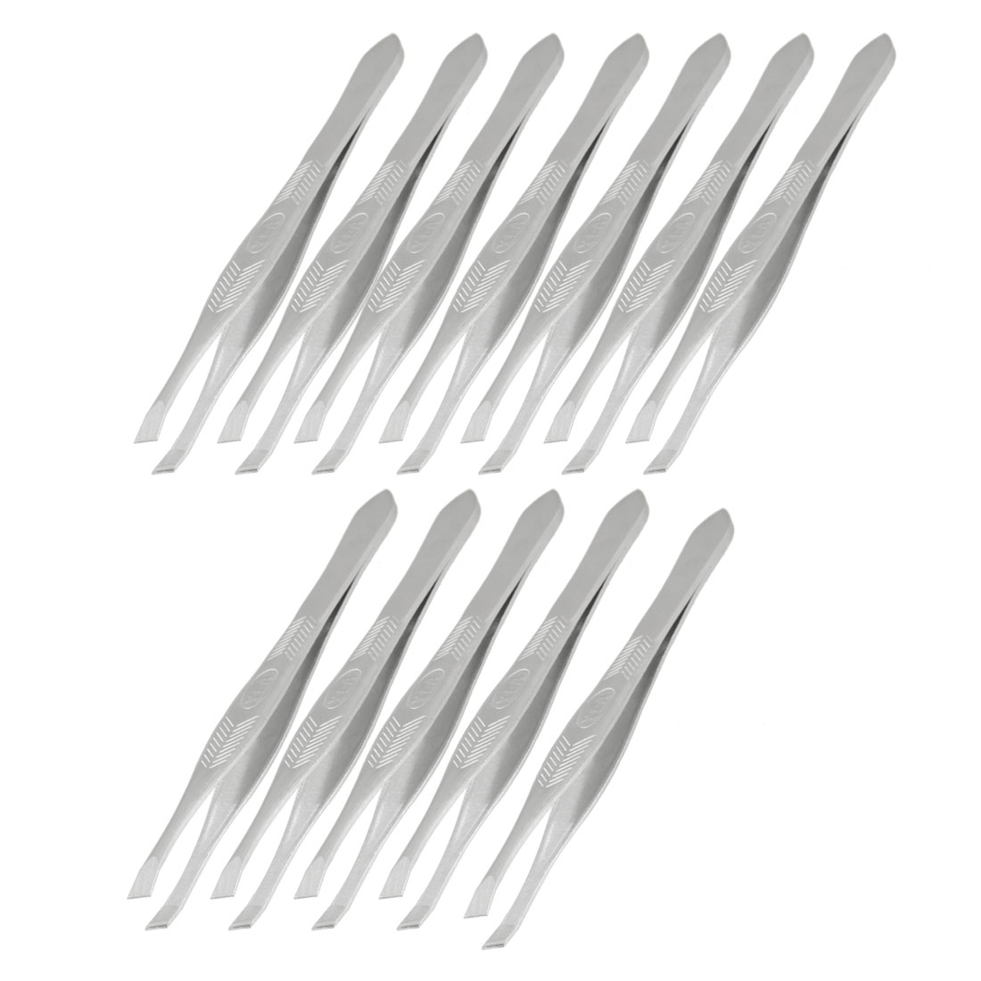12 Pcs Cosmetic Tool Silver Tone Slanted Tip Hair Removal Eyebrow Tweezer
