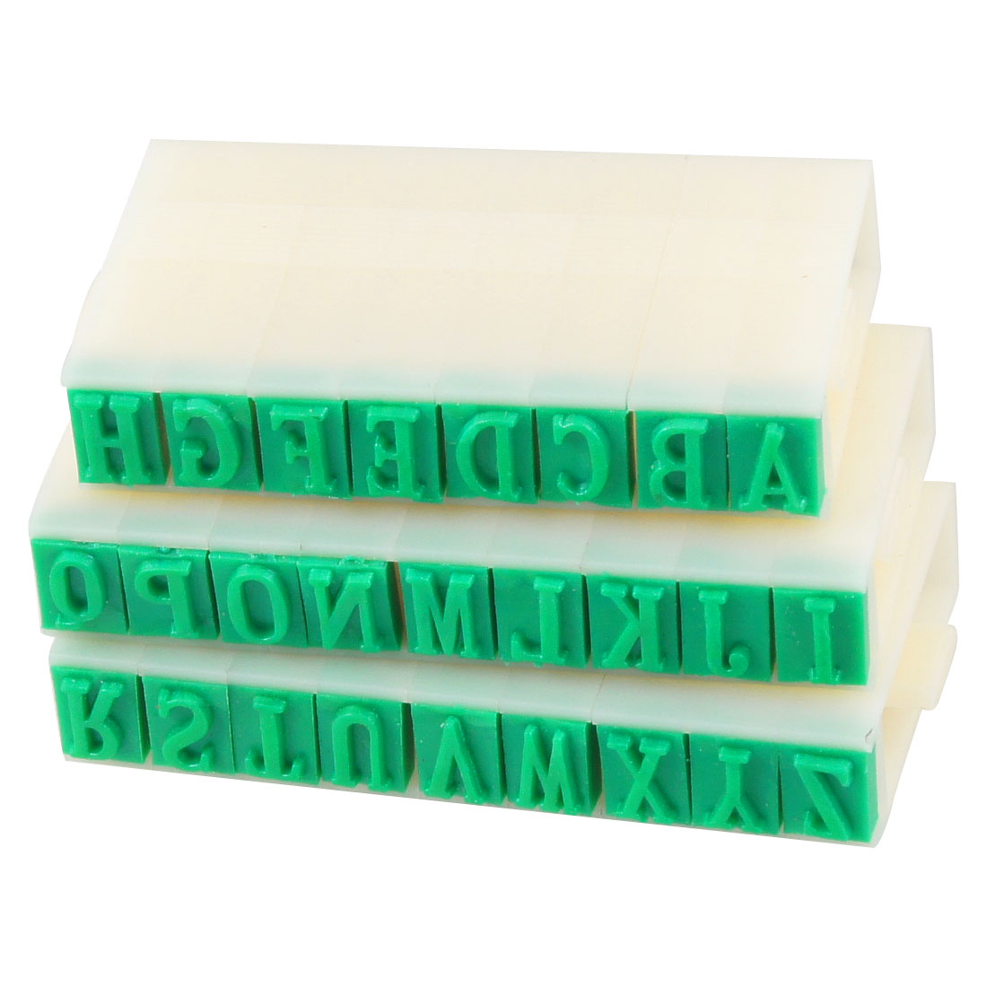 Office School 26 Pcs Alphabet Part Hard Plastic Stamp White Green