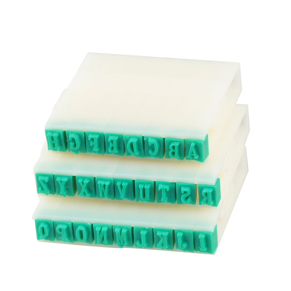 26 in 1 Alphabet Part Hard Plastic Stamp Set White Green