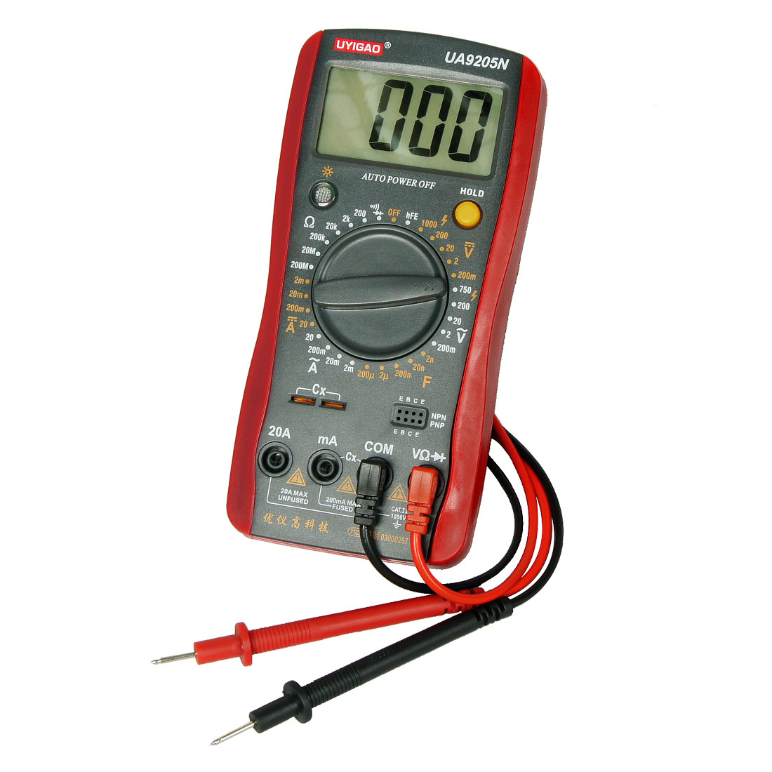 AC DC Voltmeter Ammeter Resistance Digital Meter Multimeter Black Red
