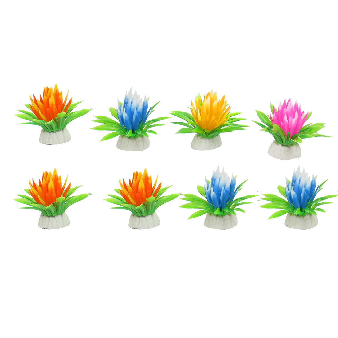 8 Pcs Orange Blue Pink Plastic Water Lily Flower Simulation Aquatic Plant Decor