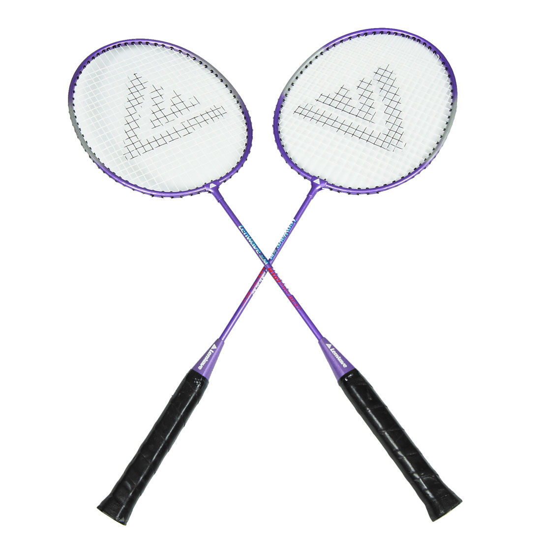 Sports Nonslip Plastic Handle Badminton Rackets Black Purple Pair