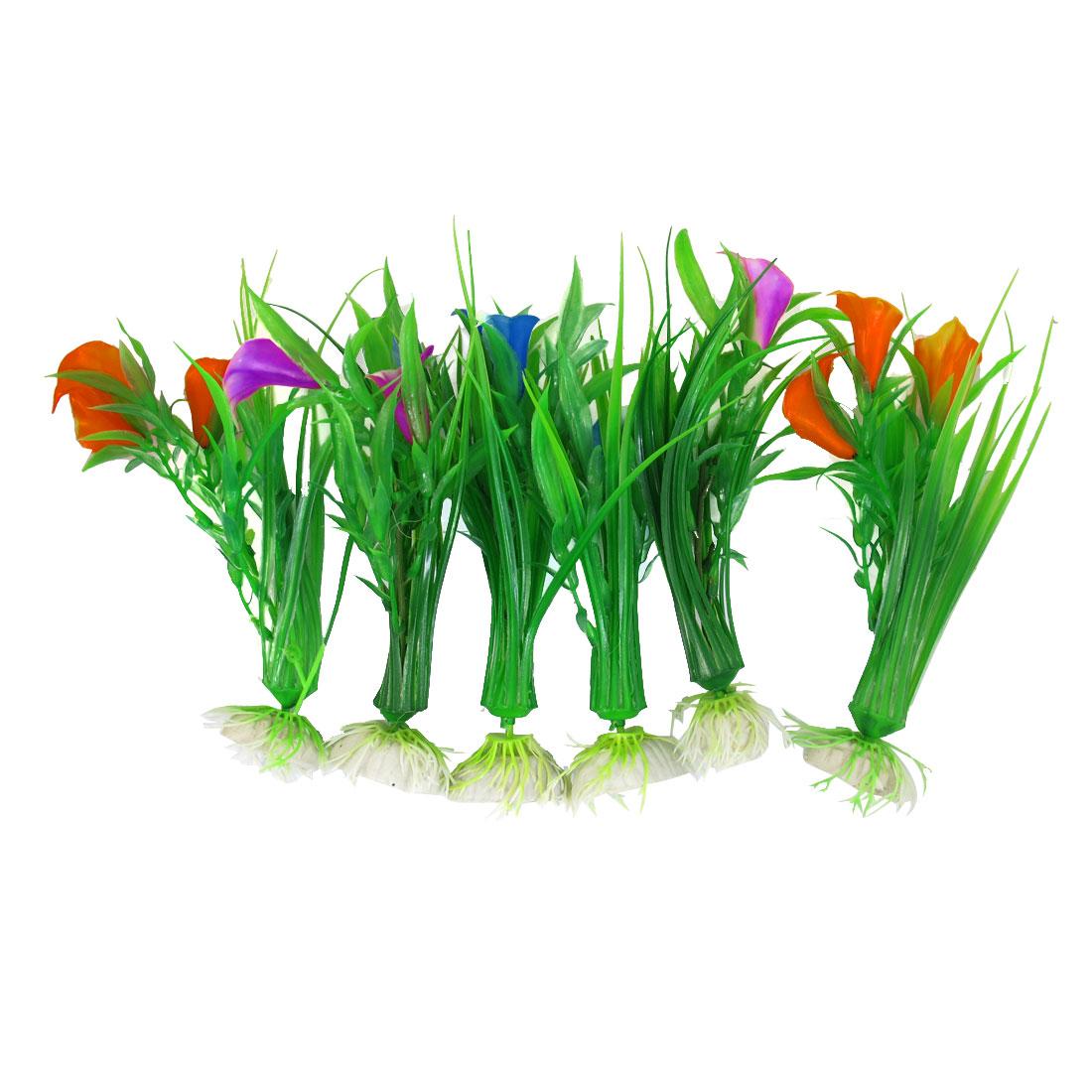 6 Pcs Green Linear Leaf Calla Lily Flower Simulation Aquatic Plant Ornament