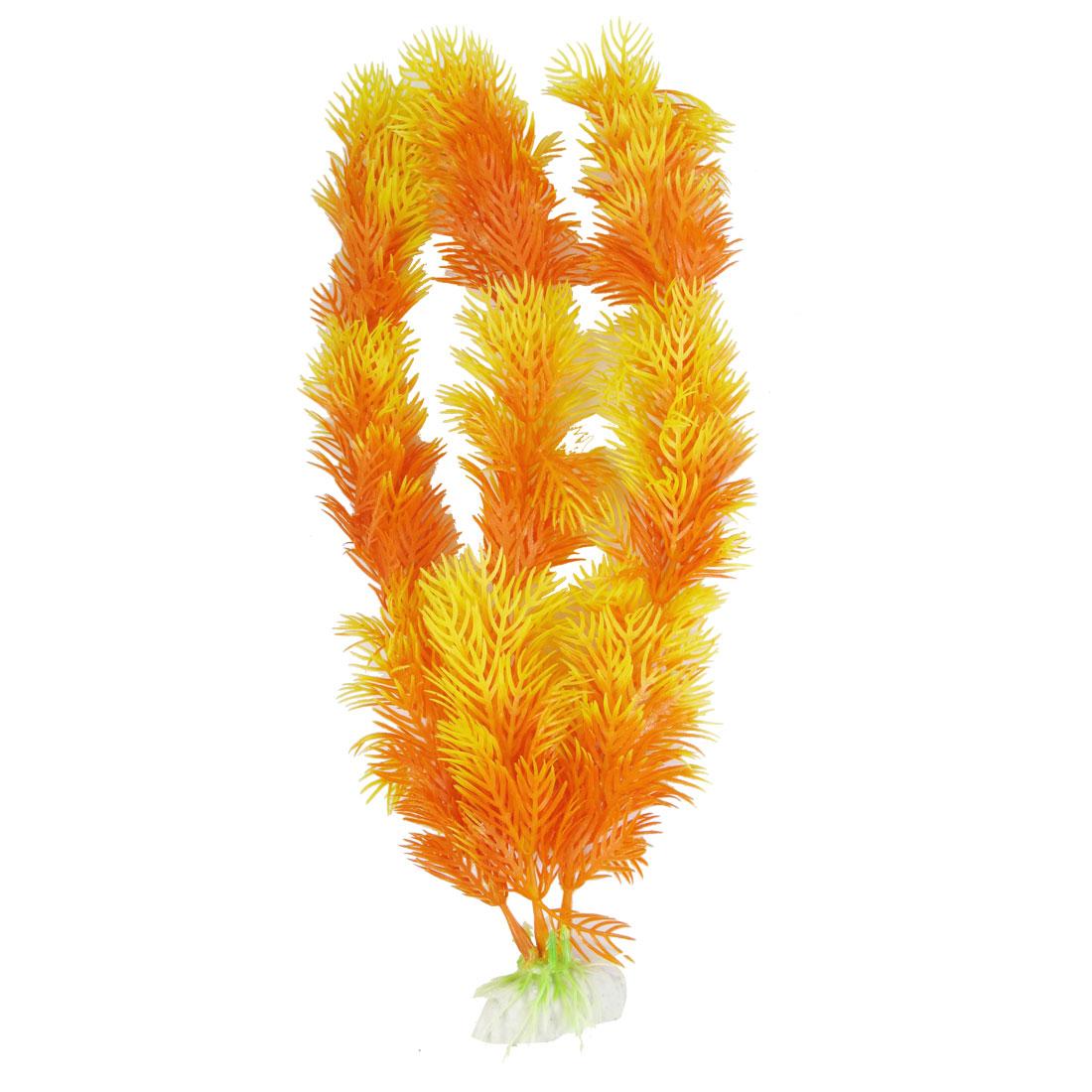 "11.4"" Ceramic Base Orange Yellow Plastic Fish Tank Ornament Aquatic Plants"
