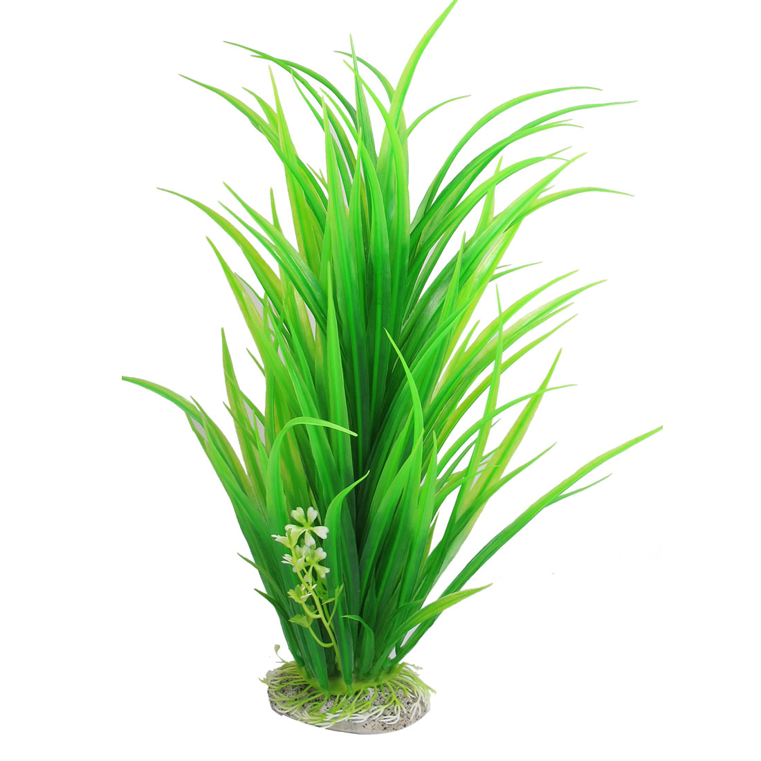 "13.8"" Ceramic Base Green Plastic Pointed Leaf Tank Grass Ornament Aquatic Plant"