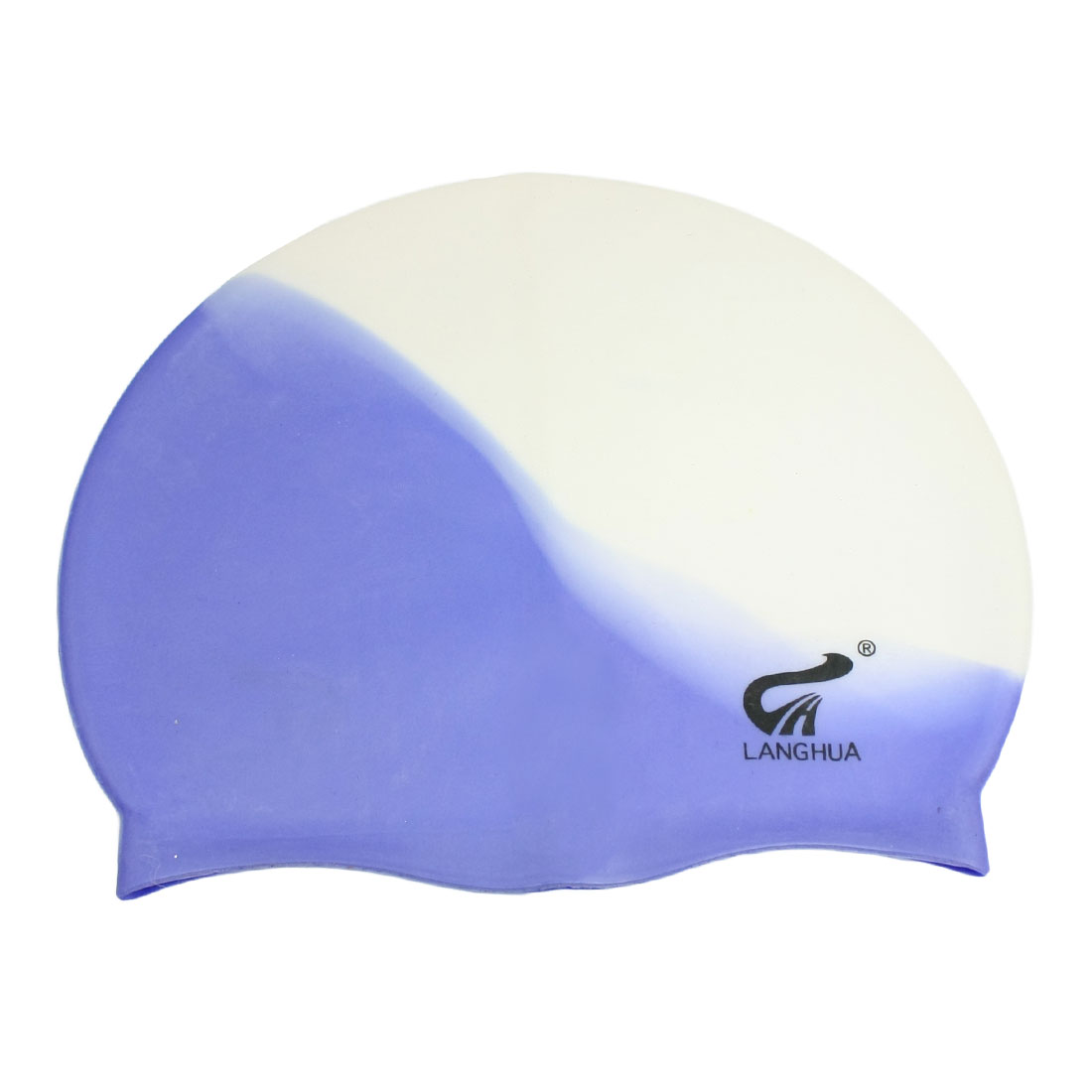 Blue White Silicone Elastic Waterproof Adult Surfing Swimming Cap