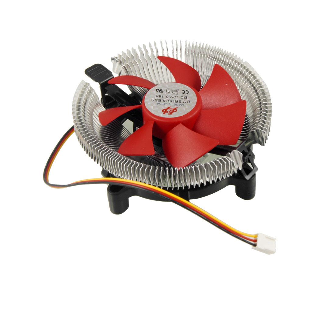 DC 12V Metal Bowl Shaped 3 Poles Connector CPU Cooler Fan for Intel LGA 775 AMD