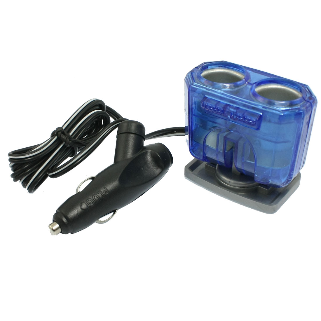 DC 12V 2-Way Socket Car Cigarette Lighter Charger Adapter Blue Black