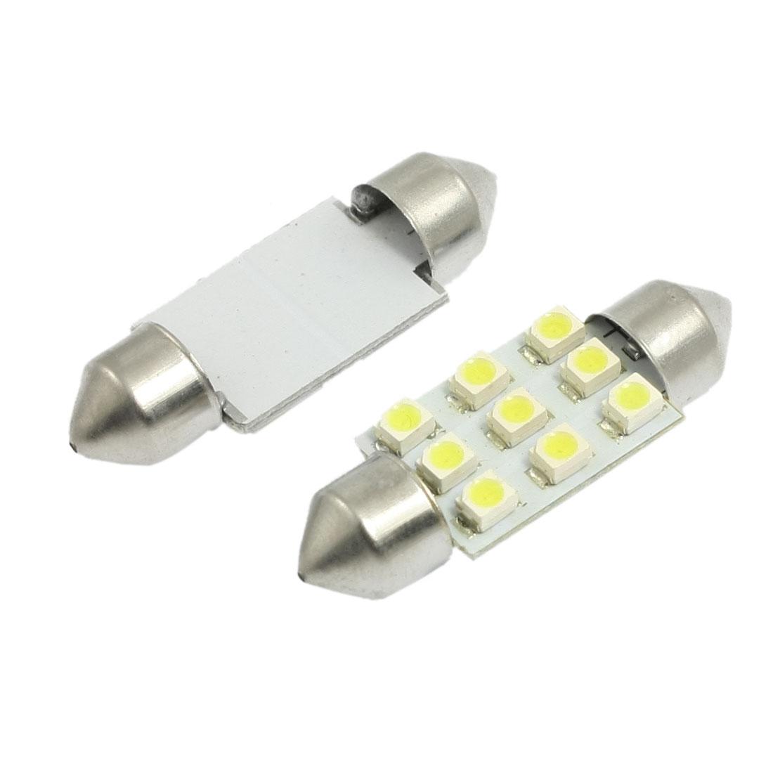 2 Pcs 36mm White 1210 SMD 9-LED Festoon Dome Light 6418 Bulbs for Car
