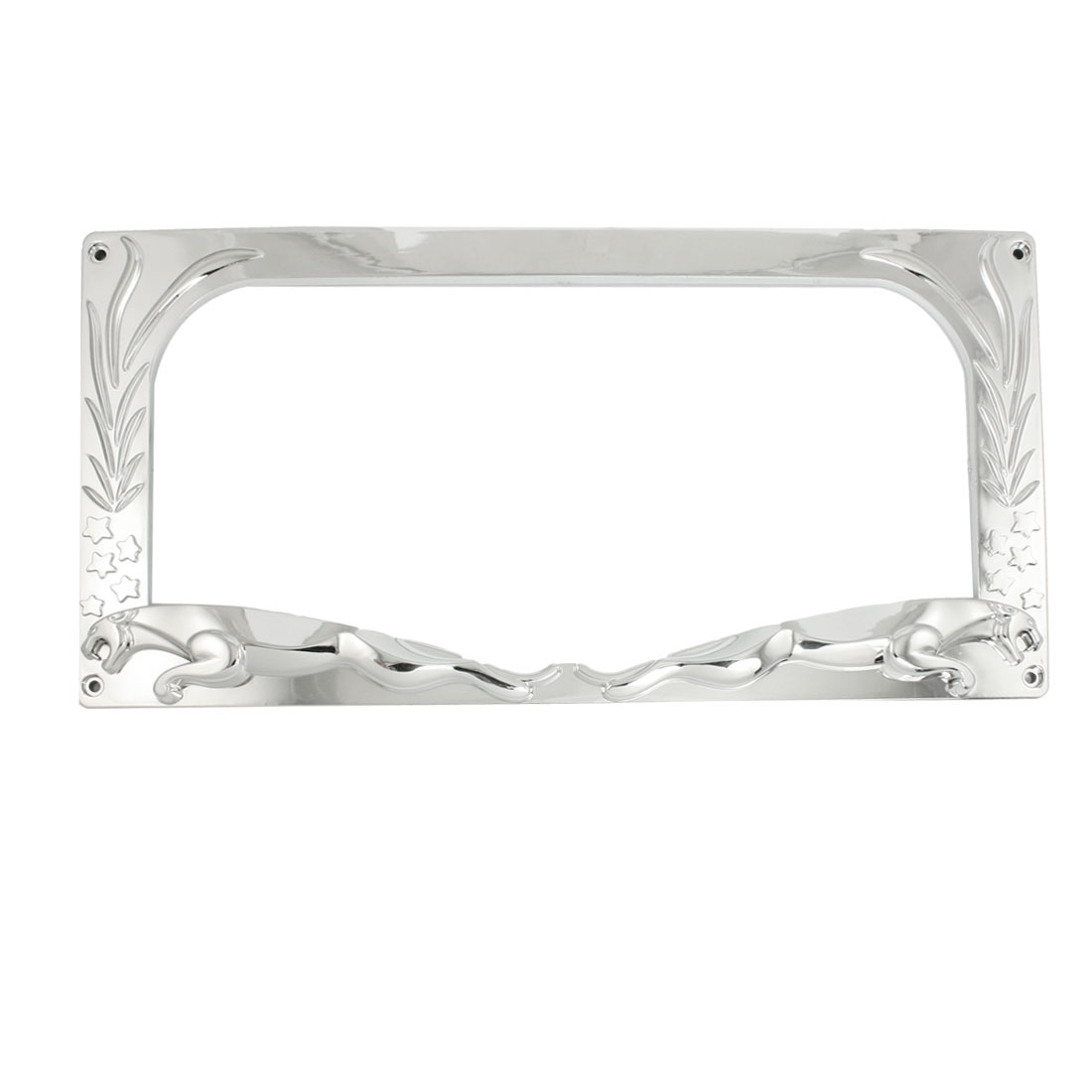Auto Car Silver Tone Plastic Star Floral Pattern License Plate Frame