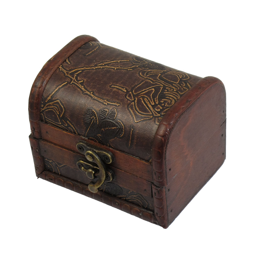 Floral Pattern Rectangle Wooden Metal Buckle Decor Jewelry Storage Box