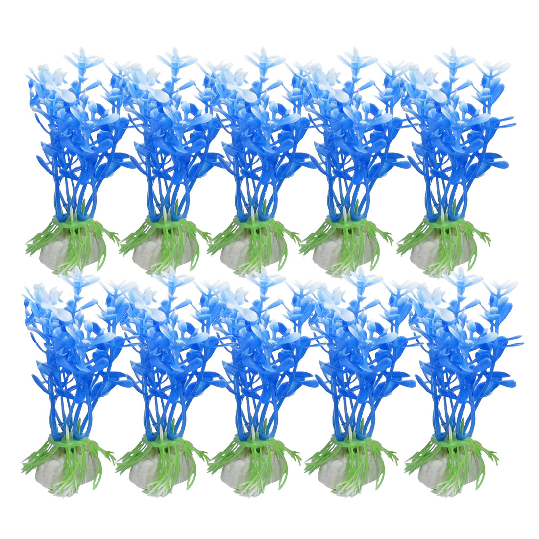 "10 Pcs 3.5"" Blue White Artificial Plastic Fish Tank Aquarium Ornament Plants"
