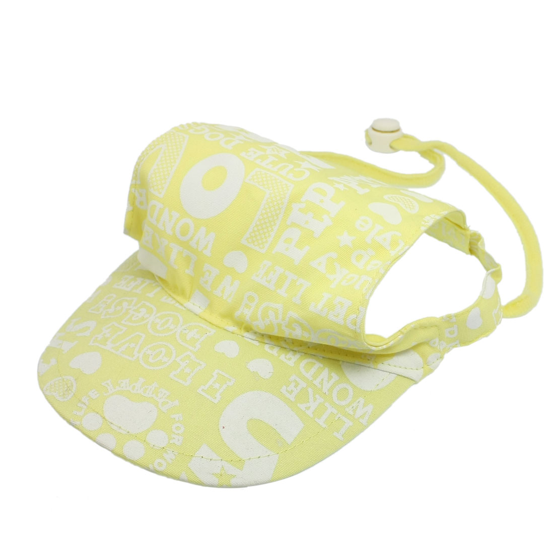 Pet Doggy Adjustable Chin-strap Summer Cap Visor Hat L Yellow White