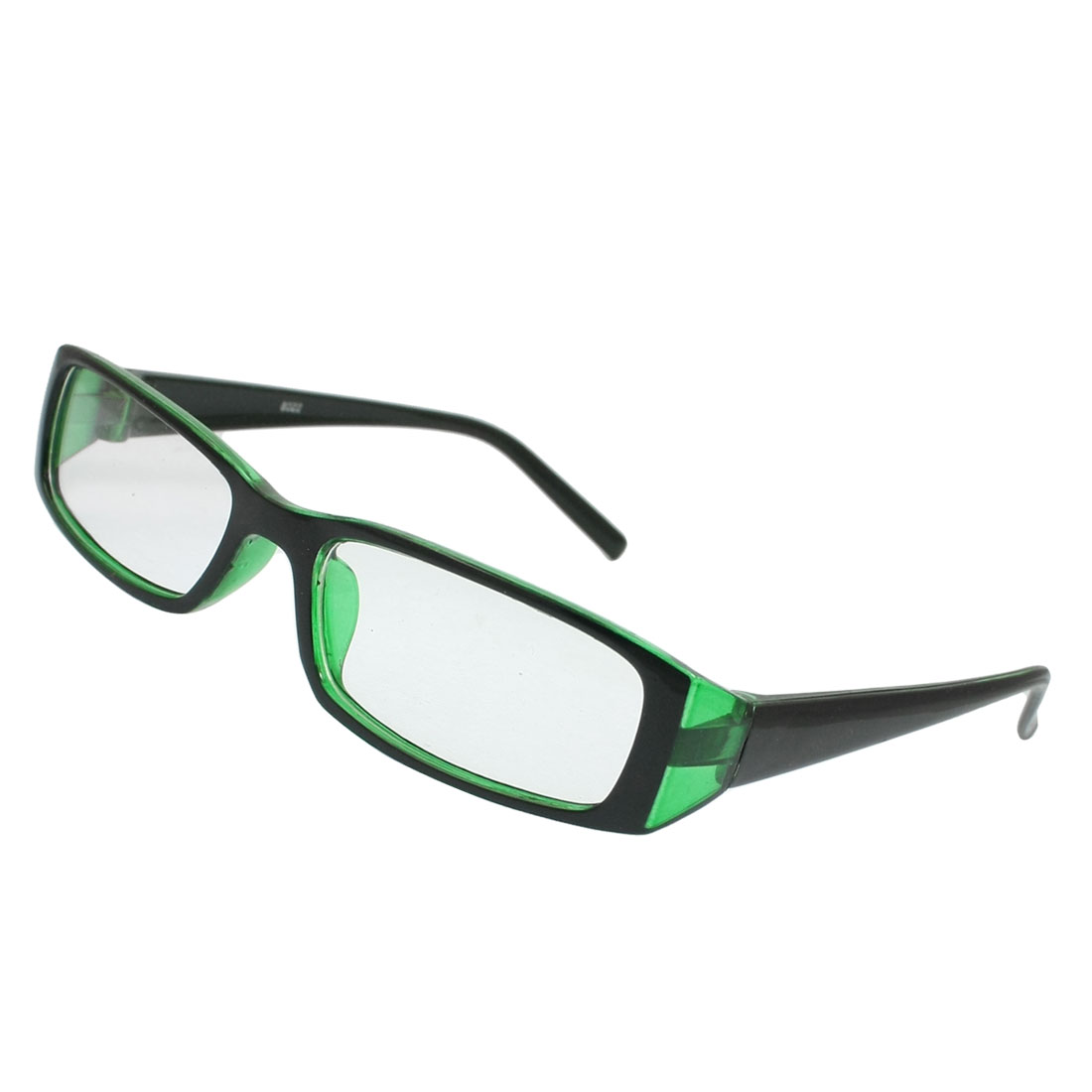 Men Women Black Clear Green Frame Single Bridge Rectangle Lens Plain Glasses