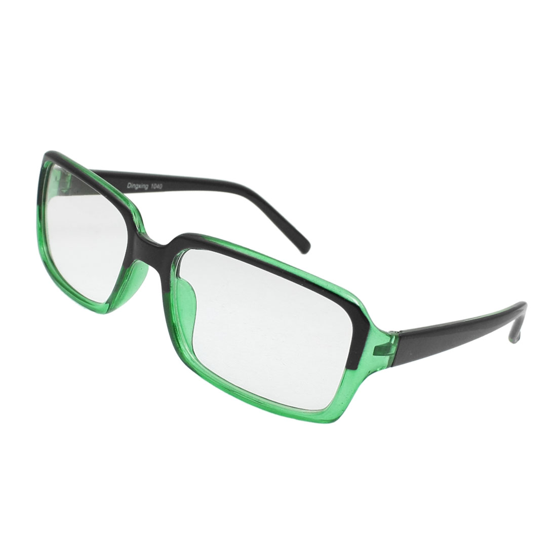 Women Men Black Clear Green Plastic Arms Full Frame Clear Lens Glasses