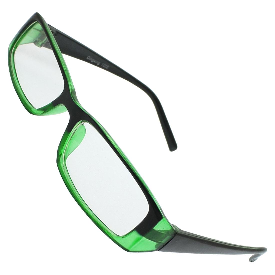 Lady Man Clear Lens Full Rims Green Black Plastic Plano Eyeglasses