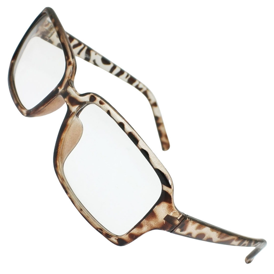 Leopard Print Plastic Full Rim Clear Lens Plain Glasses for Men Lady