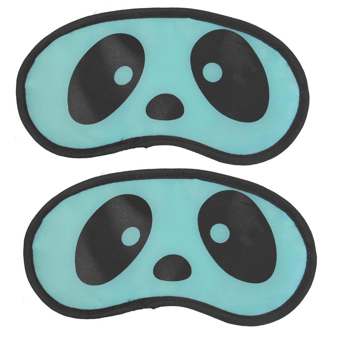 2 Pcs Blue Panda Eyes Print Soft Travel Sleeping Aids Eye Mask Eyeshade