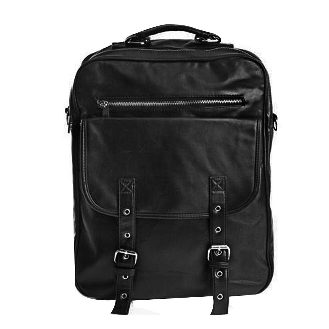 Mens Black Adjustable Strap Leather Look Rivet Decor Backpack
