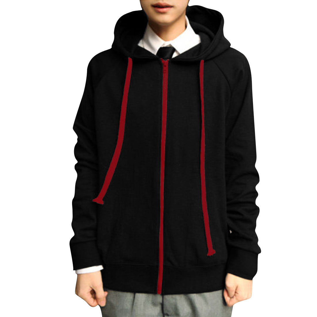 Men Black Stylish Dinosaur Style Elastic Zip Up Casual Hoodie S