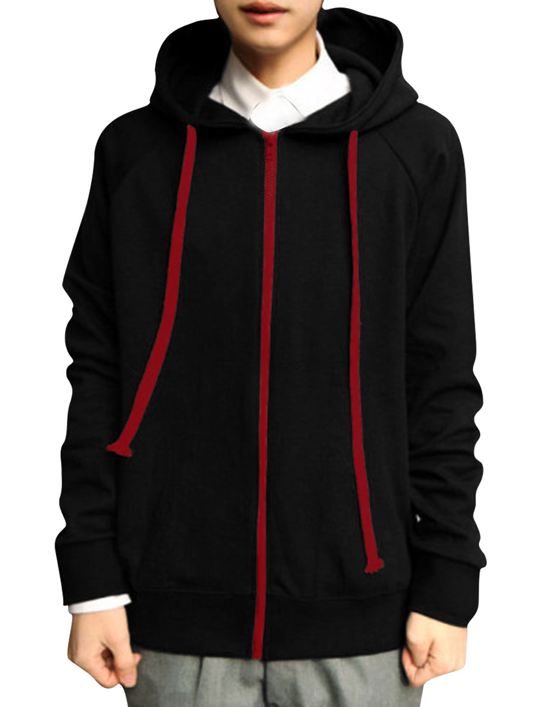 Mens Black NEW Drawstring Detail Front Pockets Hoodie M