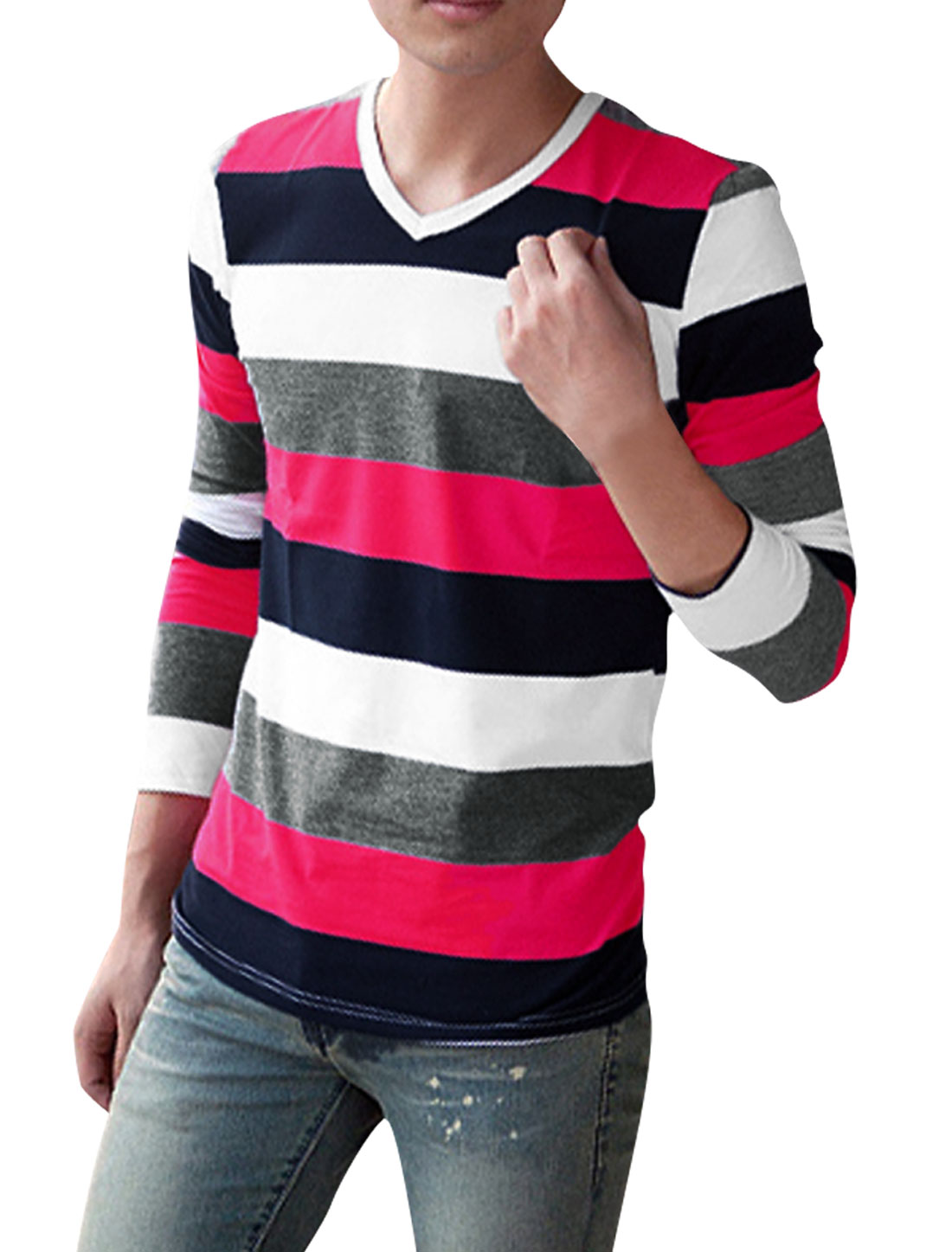Men Fuchsia White Dark Blue Light Gray Stripes Pattern Shirt S