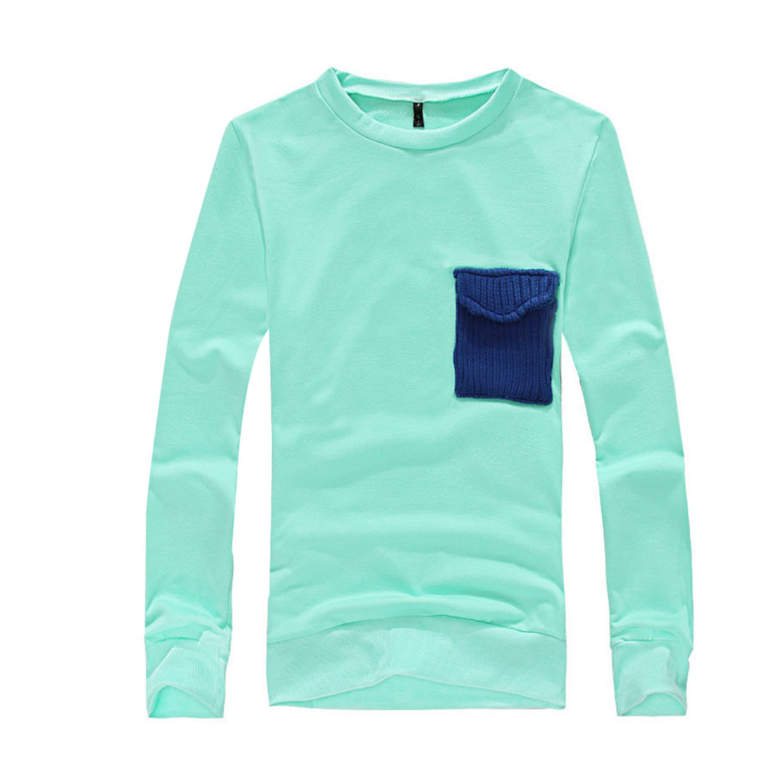 Men Mint Color Pullover Knitted Front Pocket Fashion Shirt M